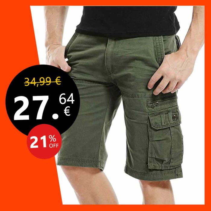 4How Bermuda Cargo Homme Shorts Pantacourt Travail Eté Coton Multipoches Casual