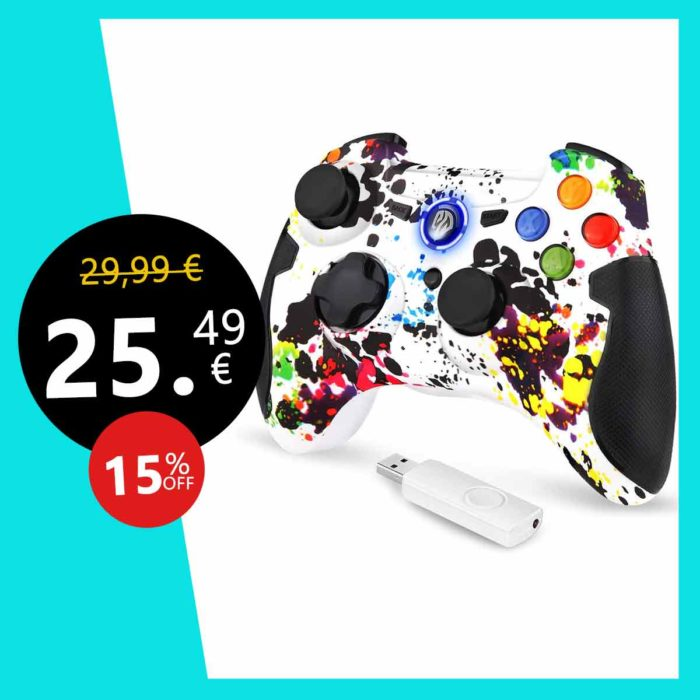 EasySMX Manette PC PS3 sans Fil, 9013 Manette PC sans Fil, Manette PS3 avec Dual Shock, Compatible pour PC Windows XP/Vista, Windows 7/8/8.1/10, PS3, Android(Via OTG)-(Blanc)