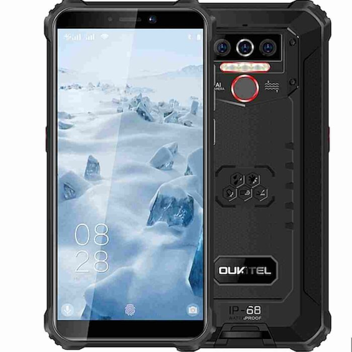 OUKITEL WP5 4G Smartphone 8000mAh Battery 5.5 inch 3 Rear Camera Android 9.0 IP68 & IP69 Waterproof Global Version – Black 4 + 32GB
