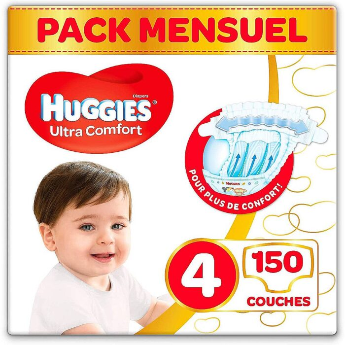 Huggies – Ultra Comfort – Couches Bébé Unisexe – Taille 4 (7-18 kg) x150 Couches – Pack 1 Mois