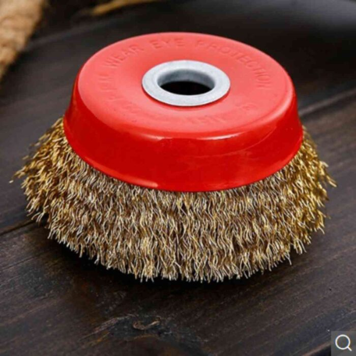 Wire Cup Brush Crimped with Nut for Angle Grinder 1pc – Red