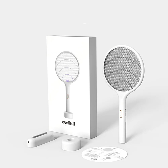 Qualitell Electric Mosquito Swatter Rechargeable Handheld LED Mosquito Killer Insect Fly Mural Mosquito Killing Dispeller De Xiaomi Youpin – blanc Chine