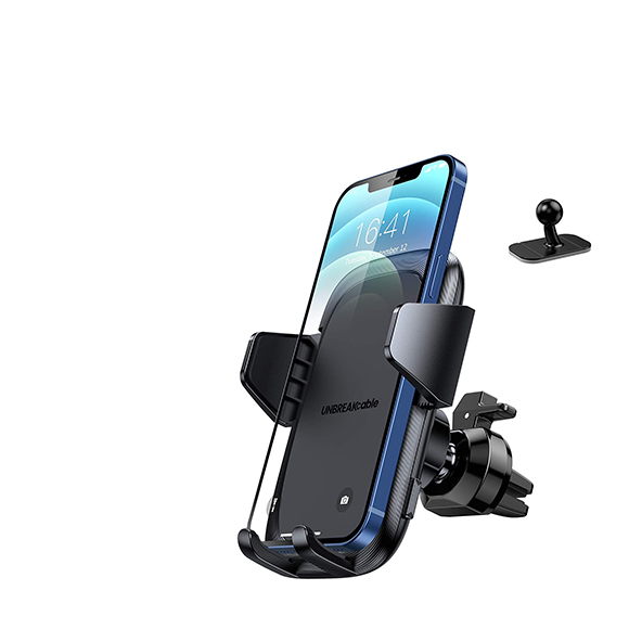 UNBREAKcable Support Telephone Voiture Grille d'aération [2 en 1] Universel Porte Telephone Voiture Tableau de Bord Rotation 360° Kit Telephone Voiture avec iphone, Samsung, Huawei, Xiaomi
